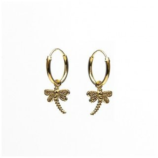 Oorringetjes Dragonfly - goldplated