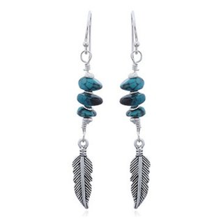 Oorhangers Turquoise Feather - 925 zilver
