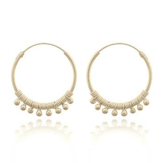 Boho Hoops Beaded - Gold plated