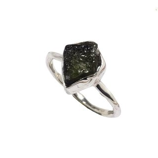 Czech moldavite rough ring