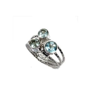 Ring Blue Topaz tres - 925 zilver