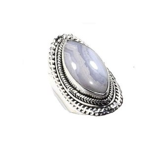Boho ring Blue lace agate