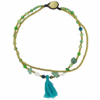 Enkelbandje Fringe - Turquoise