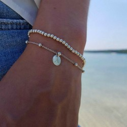 *Pre-order* Ball chain initial armband - 925 zilver