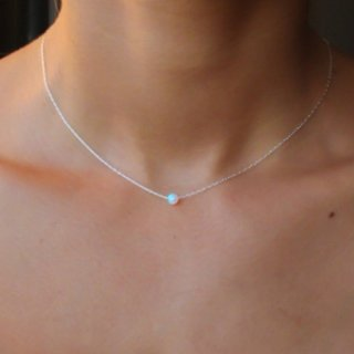 Bead ketting opal white -925 zilver