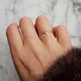 Open hart ring - 925 zilver