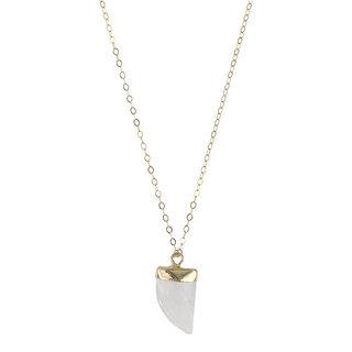Rainbow moonstone teeth necklace