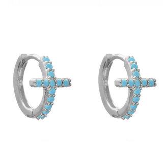 Turquoise Cross Huggie Hoops - zilver