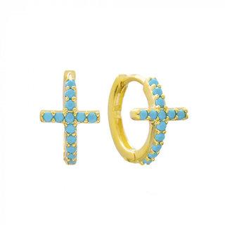 Turquoise Cross Huggie Hoops - goud