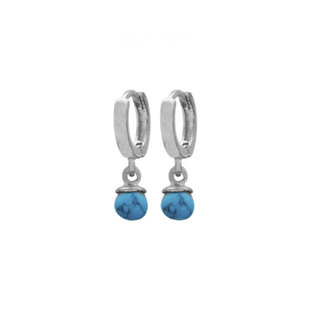 Turquoise Drop Huggie Hoops - zilver en goldplated