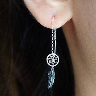 Feather dream ear threader - 925 zilver