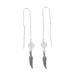 Moonstone Feather Earthreaders - 925 zilver