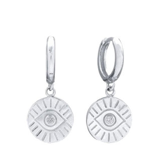 Sparkly Evil Eye hoops - 925 zilver