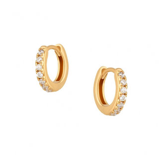 Pave hugging hoops - Goldplated