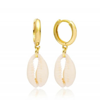 Cowrie dangle hoops - goldplated
