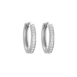 Sparkling huggie hoops - zilver