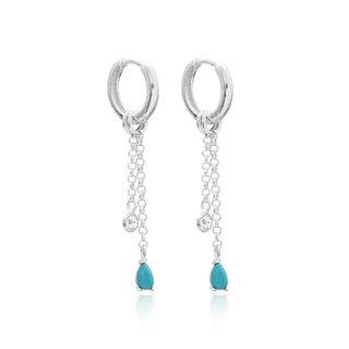 Blue Diamond earrings  - 925 zilver