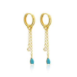 Blue Diamond earrings  - goldplated