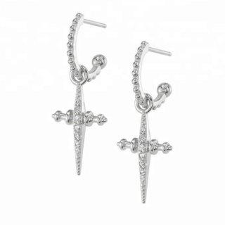 Cross sparkly hoops -925 zilver