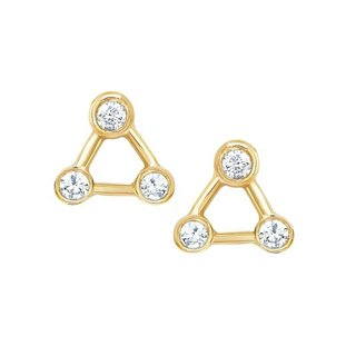 Triangle sparkly studs - goldplated