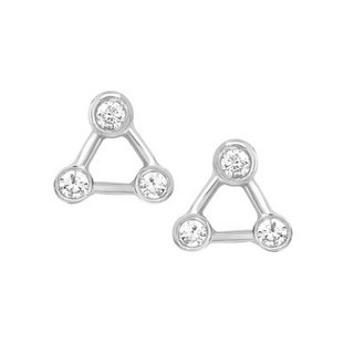 Triangle sparkly studs - 925 zilver