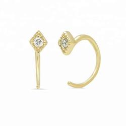 Hugging oorringen Diamond - goldplated