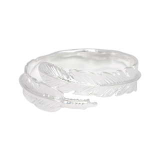 Boho ring Feather Wrap - 925 zilver
