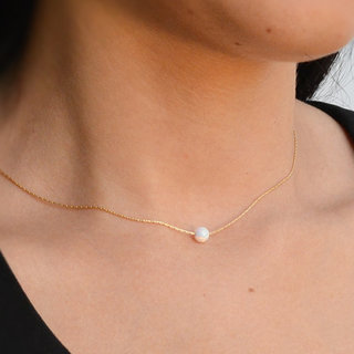 Ketting Bead Opal White - 925 zilver