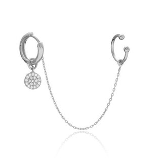 Earcuff Threader Diamond circle - 925 zilver