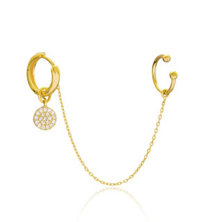 Earcuff Threader Diamond circle - goldplated