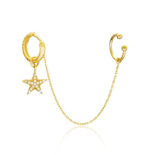 Earcuff Threader Star - goldplated