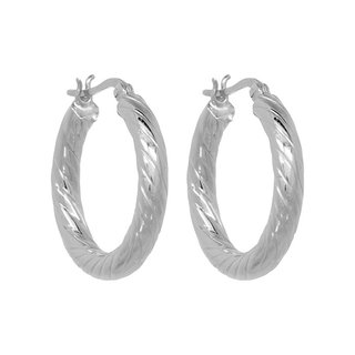 Twisted hoops medium - zilver