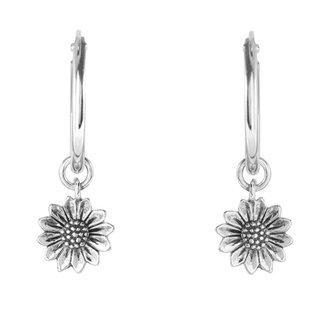 Zonnebloem oorringen - 925 zilver