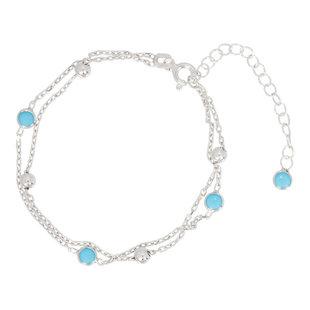 Turquoise ball armband - 925 zilver