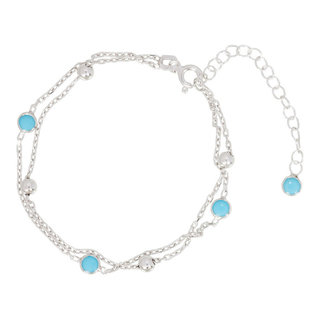 Turquoise ball armband - 925 zilver