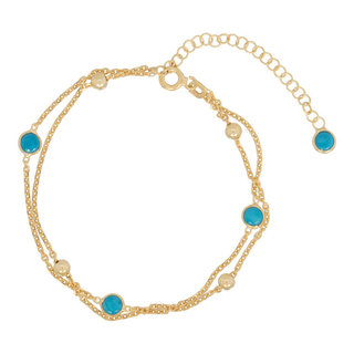 Turquoise ball armband - goldplated