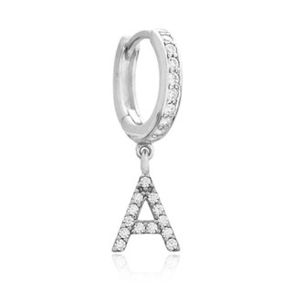Sparkly Initial Earring (A-Z) - 925 zilver