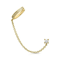 Earcuff Sparkly with chain - goldplated