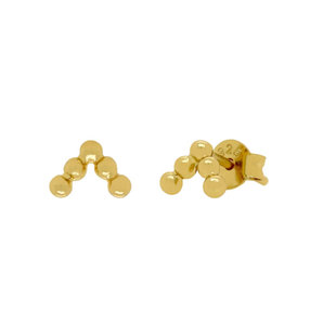 Chevron dot oorknopjes - goldplated