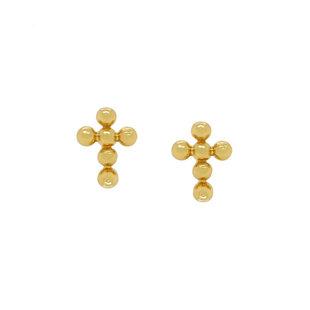 Cross dot oorknopjes - goldplated