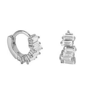 Sparkling baguette earrings - 925 zilver