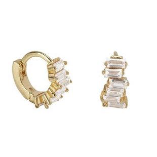 Sparkling baguette earrings - goldplated