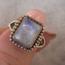 Moonstone Block Ring - maat 17 - 925 zilver