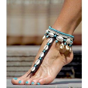 Barefoot sandals Concha turquoise