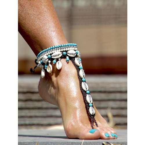 Barefoot sandals Concha turquoise