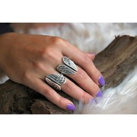 Zilveren BOHO ring Angel wings