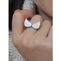 Zilveren ring Angel wings zirkonia
