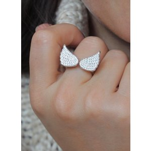 Zilveren ring Angel wings zirkonia