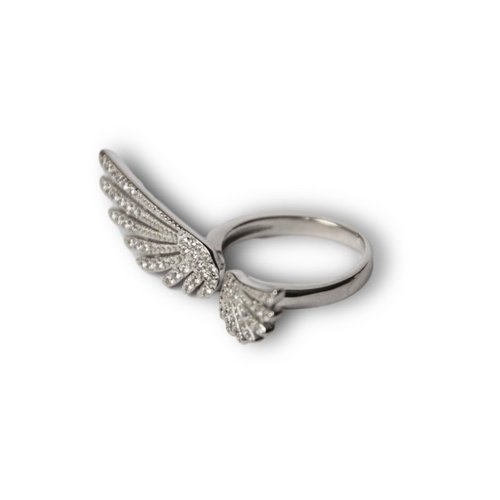 Zilveren ring Angel wing zirkonia