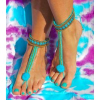 Barefoot sandals Pom-pom Turquoise